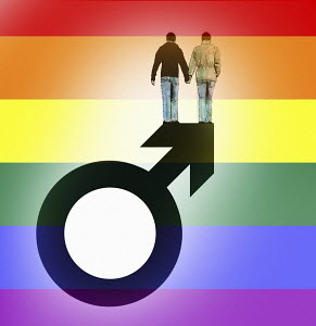 Gay couple holding hands on top of male gender symbol