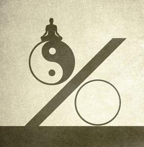 Woman meditating on top of yin yang symbol percentage sign