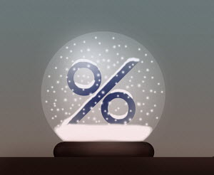 Percentage sign in snow globe