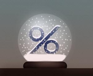 Percentage sign in snow globe