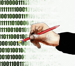Hand erasing binary code data