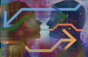 Man and woman connected by digital technology