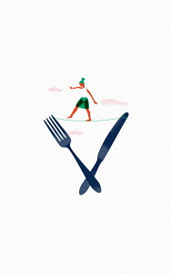 Woman balancing on tightrope between knife and fork