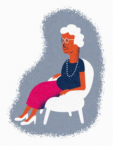 Contented elderly woman sitting in armchair