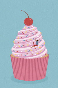Carefree woman sliding down cupcake helter-skelter