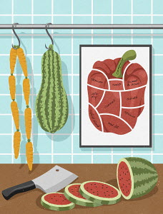 Vegetarian food hanging like butcher's shop