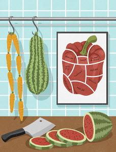 Vegetarian food hanging like butcher's shop