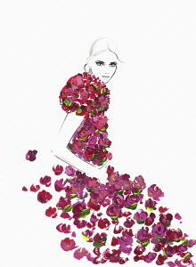 Fashion illustration of woman wearing rose dress