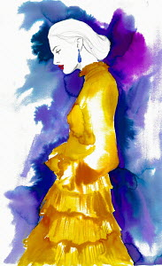 Fashion illustration of woman wearing frilly layered dress
