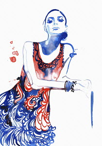 Fashion illustration of woman wearing patterned sundress