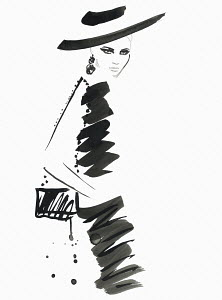 Fashion illustration of model wearing black dress and hat