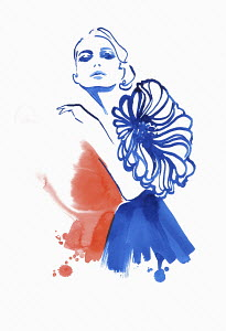 Fashion illustration of model wearing dress with large flower