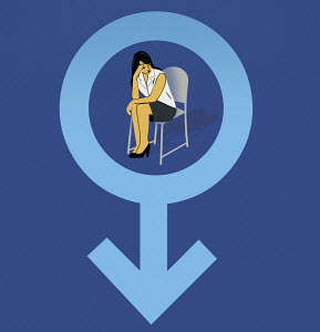 Depressed woman inside of female gender symbol
