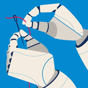 Robotic hands threading a needle