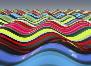 Smooth multi coloured striped wave pattern