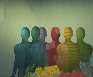 Overlapping different coloured male silhouettes