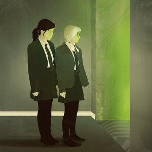 Two schoolgirls peeping into doorway into cyberspace