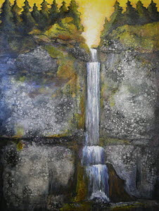 Painting of waterfall flowing down rock face