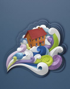 Paper sculpture of house in turbulent wind