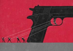 Businessmen struggling together to fire large gun