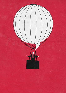 Shrugging businessman in speech bubble hot air balloon