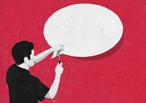 Man nailing speech bubble