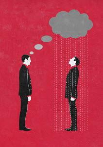 Pessimistic businessman forecasting rain