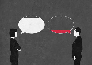 Man and woman arguing with full and empty speech bubbles