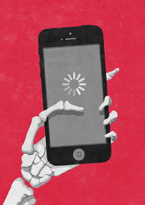 Skeleton hand holding smart phone waiting for loading symbol
