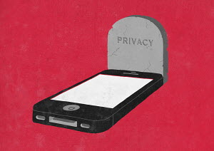Smart phone as grave with 'Privacy' on headstone