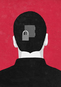 Padlock on door in back of man's head