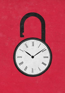 Clock face on unlocked padlock
