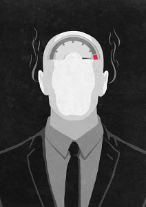 Businessman with pressure gauge and smoke coming out of ears