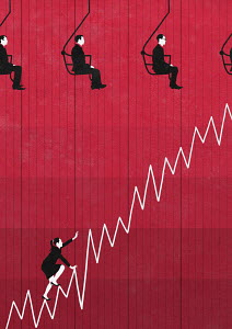 Businesswoman struggling to climb line graph while businessmen take chair lift