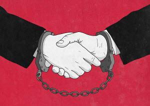 Handcuffs on handshake