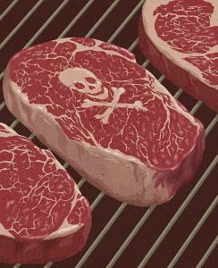 Skull and crossbones on beef steak