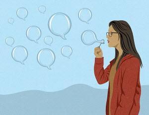 Woman blowing speech bubbles