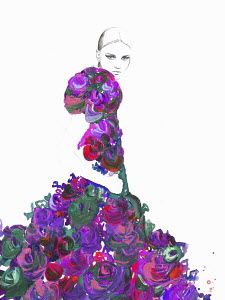 Fashion illustration of woman wearing floral pattern ruffled evening gown