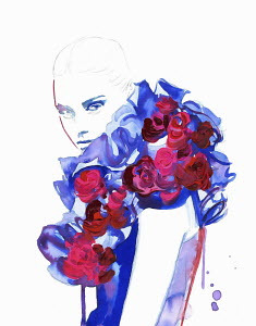 Fashion illustration of woman wearing blue ruff