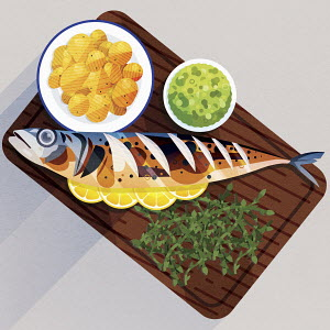 Serving board with cooked mackerel, potatoes, mushy peas and samphire
