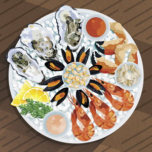 Fresh seafood platter on ice