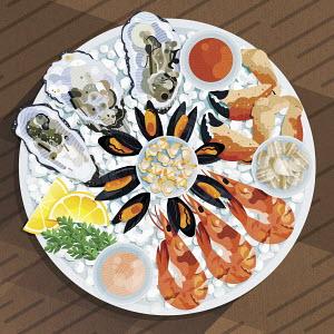Fresh seafood platter on ice