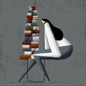 Woman chained to large pile of books