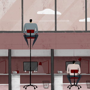 Bored office worker high up on office chair looking out over wall