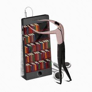 Man choosing book from shelf on smart phone