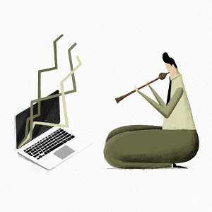 Businessman snake charmer manipulating graph on laptop