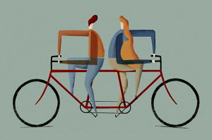 Man and woman on tandem cycling in opposite directions