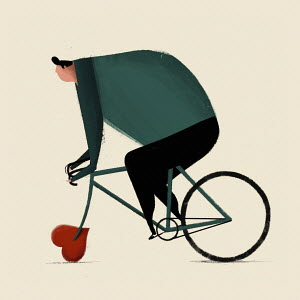 Overweight man riding bike with heart shaped wheel