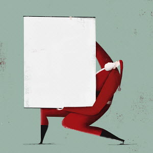 Father Christmas holding blank flipchart