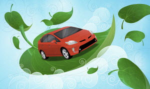 Car floating among green leaves